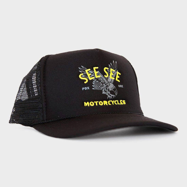 product: See See Motorcycles Eagle Trucker Hat Black