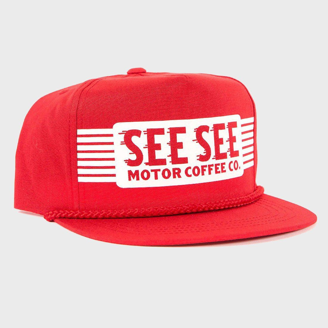 See See Motorcycles Oil Can Snapback Hat Red
