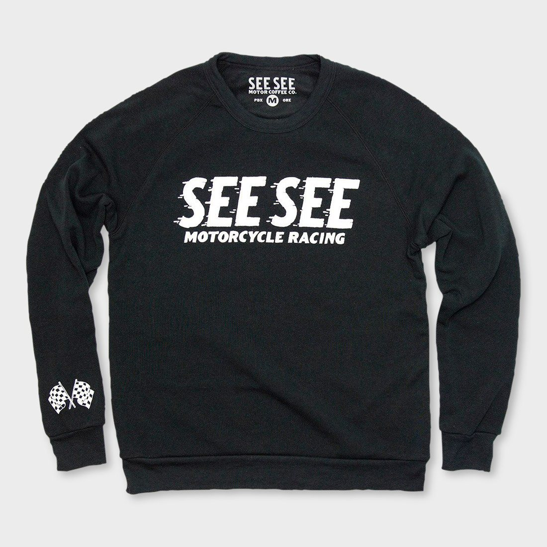 See See Motorcycles Racing Crewneck Sweater Black