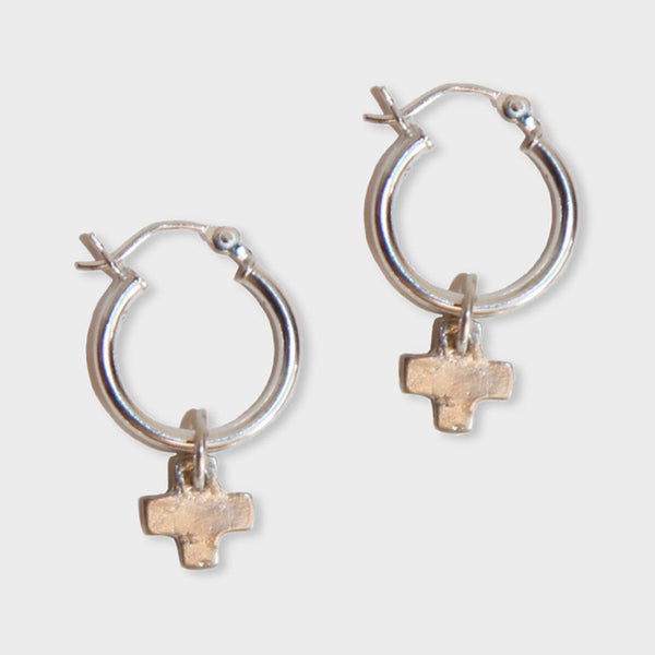 product: Sine X Charm Hoop Earrings Sterling Silver
