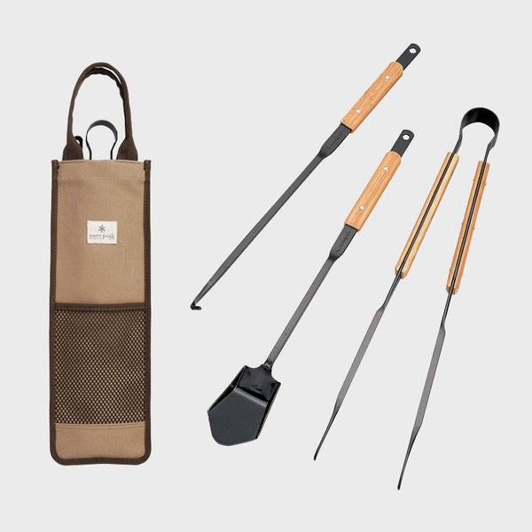 product: Snow Peak Fire Tool Set Pro Brown