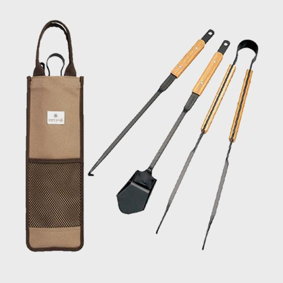 Snow Peak Fire Tool Set Black Steel/Wood