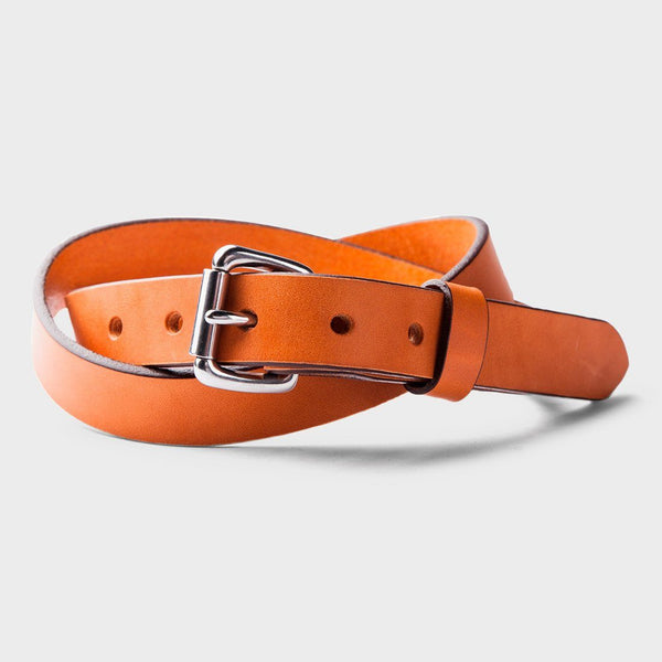 product: Tanner Goods Skinny Standard Belt Saddle Tan / Stainless