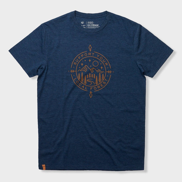 product: Tentree Support T-Shirt Dark Ocean Blue Heather