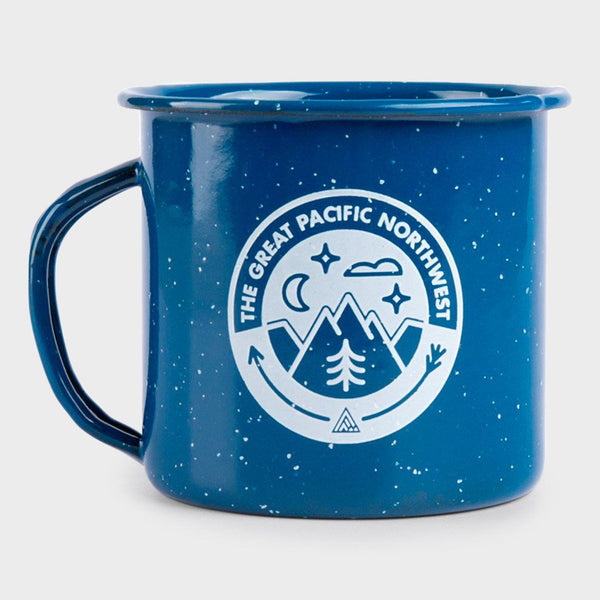 product: The Great PNW Campout Enamel Mug Blue