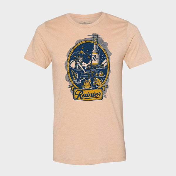 product: The GReat PNW Rainier X Kyler Martz Beermaid T-Shirt Wheat