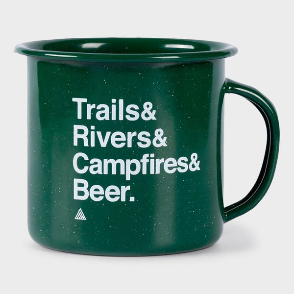 product: The Great PNW Trailhead Enamel Mug Forest Green