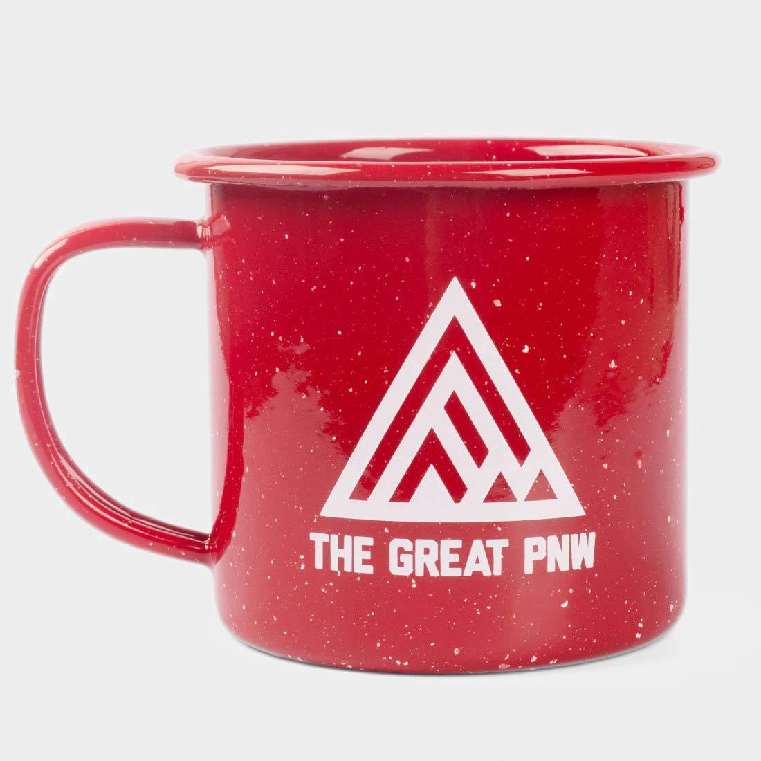 The Great PNW Weekend Enamel Mug Red