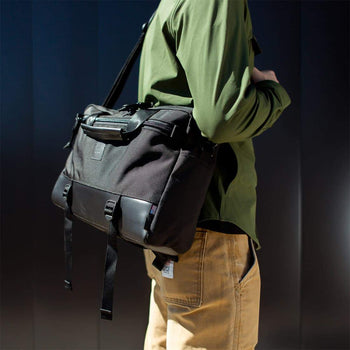 product: Topo Designs Commuter Briefcase Charcoal/Black Leather