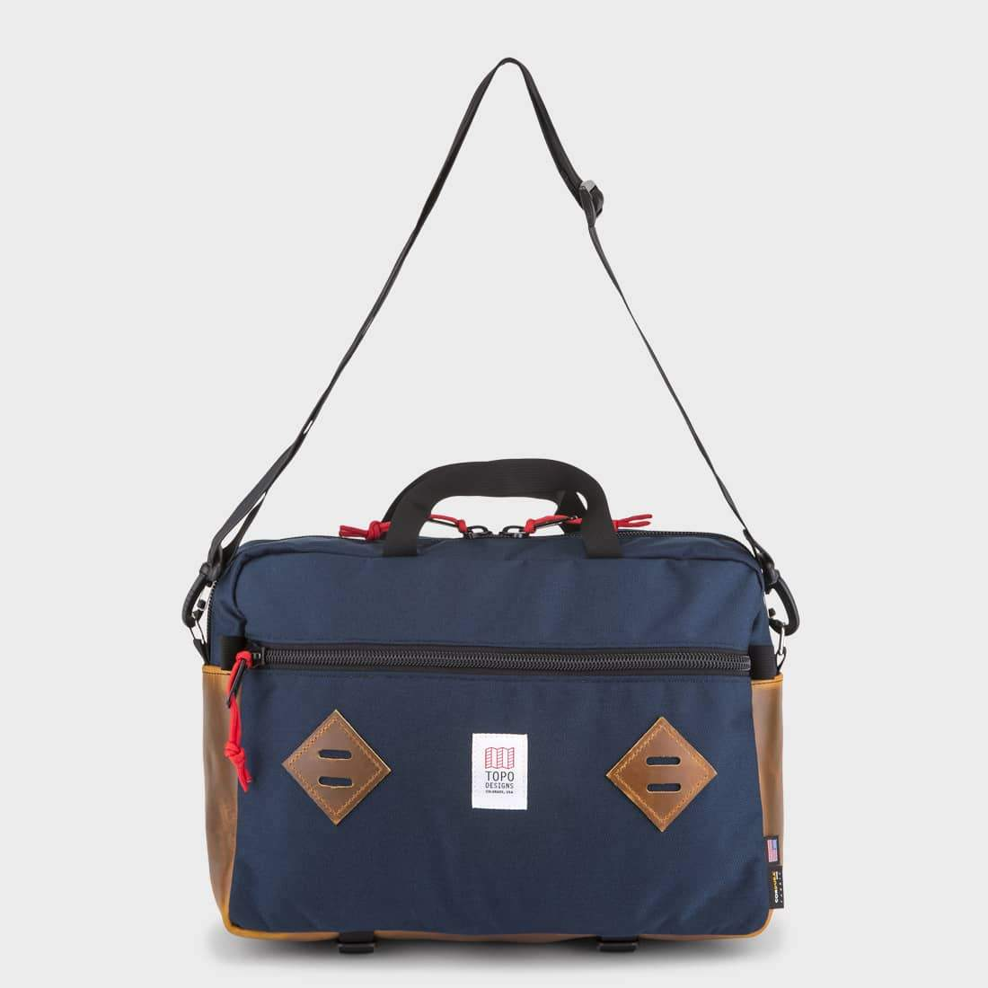 TOPO Designs Mountain Briefcase Navy/Brown Leather