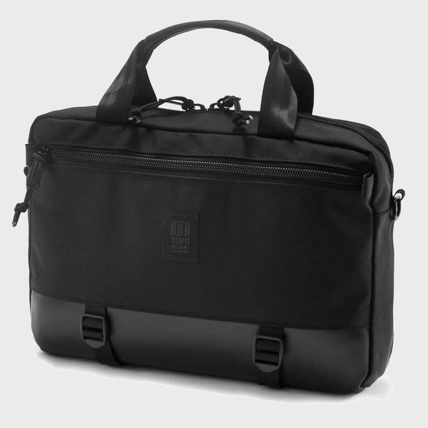 product: Topo Designs Commuter Briefcase Ballistic Black / Black Leather