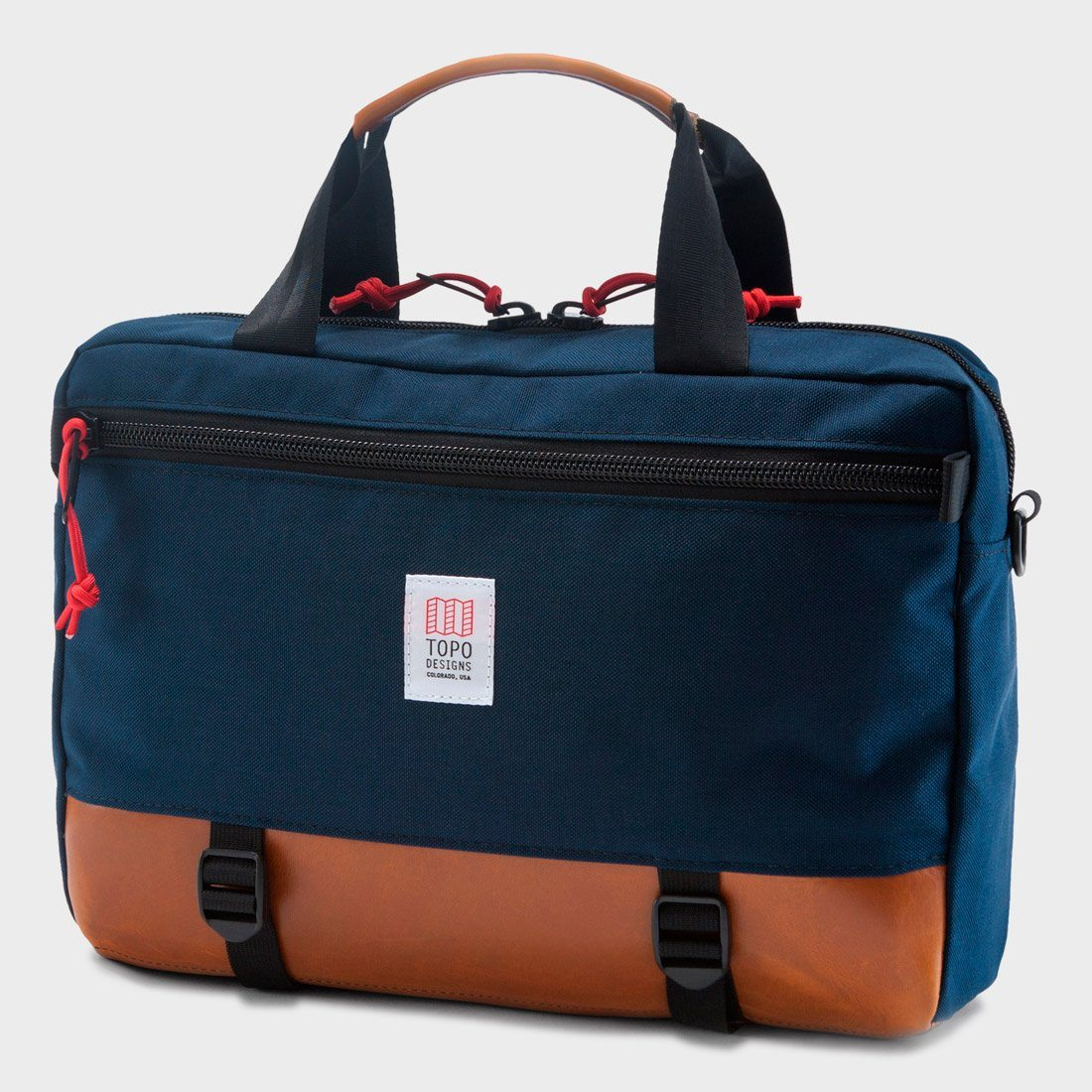 Topo Designs Commuter Briefcase Navy / Brown Leather