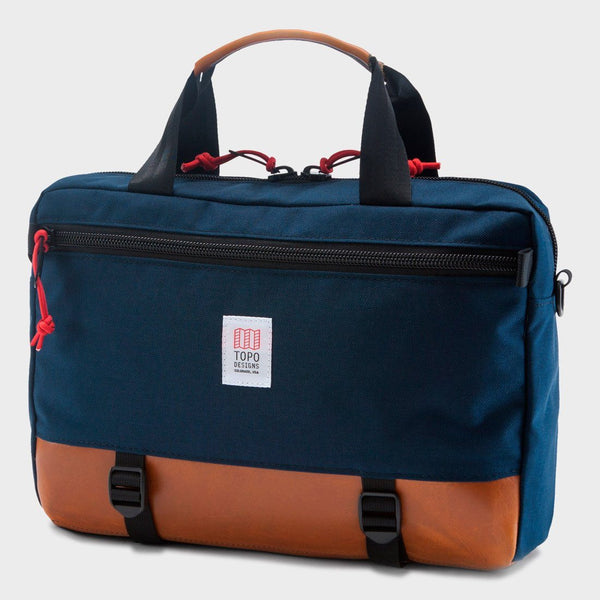 product: Topo Designs Commuter Briefcase Navy / Brown Leather