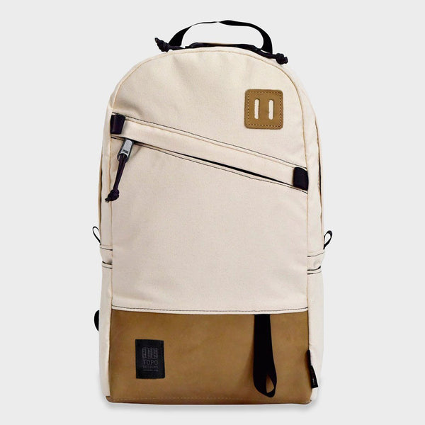 product: Topo Designs Daypack Backpack Natural Canvas/ Khaki Leather
