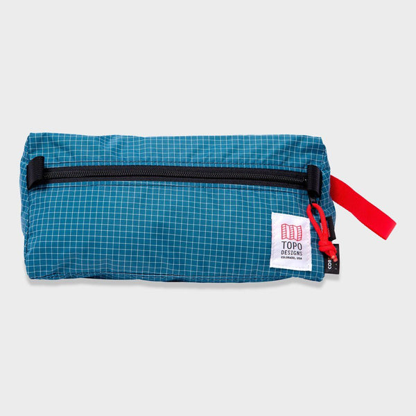 product: Topo Designs Dopp Kit Blue/ White Ripstop