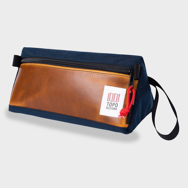 product: Topo Designs Dopp Kit Heritage Navy/ Brown Leather