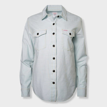product: Topo Designs Women's Mountain Shirt Chambray Light Blue
