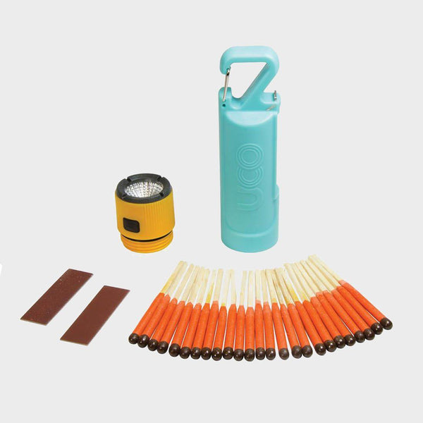 product: Uco Gear Firefly Match Case & Flashlight W/ Matches Turquoise