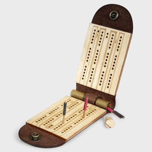 product: Walnut Studiolo Travel Cribbage Board with Birch