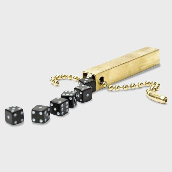 "product: Walnut Studiolo Travel Dice 4"" Keychain Black Dice"