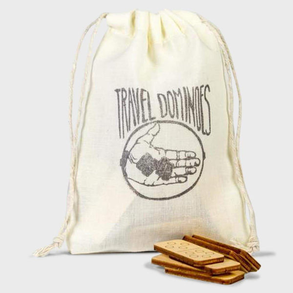 product: Walnut Studiolo Travel Dominoes Birch With Natural Muslin Bag