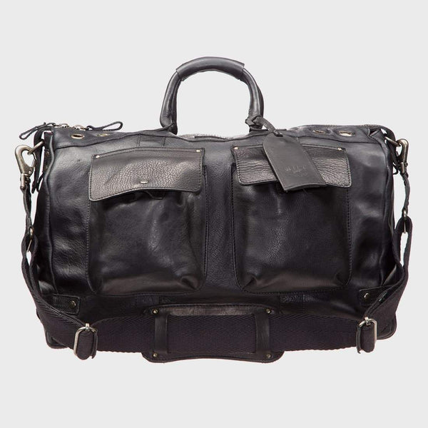 product: Will Leather Goods Leather Traveler Duffle Black