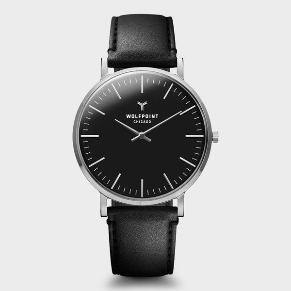 product: Wolfpoint Ada Watch Silver Case/ Black Dial/ Black Horween Leather Strap