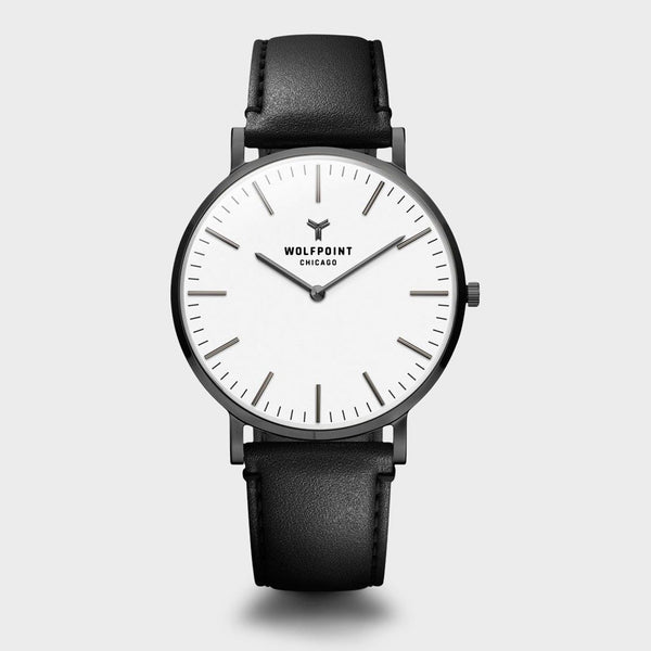 product: Wolfpoint Delaware Watch Gunmetal Case/ White Dial/ Black Horween Leather Strap