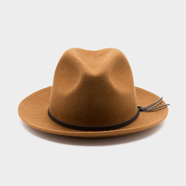 product: Yellow 108 Unisex Luke Fedora Caramel