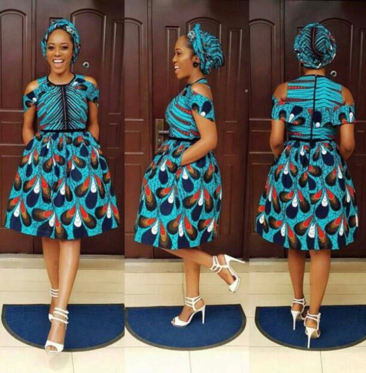 Blue and White Ankara Teardrop Dress