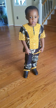 Boys Black, White, and Gold Embroidery Ankara Set