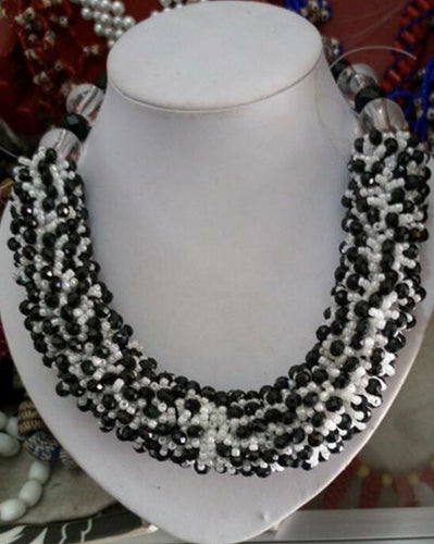 Black and White Beaded Ankara Necklace