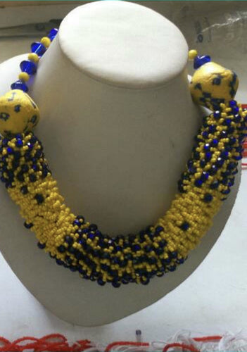 Yellow and Blue Goddess Necklace