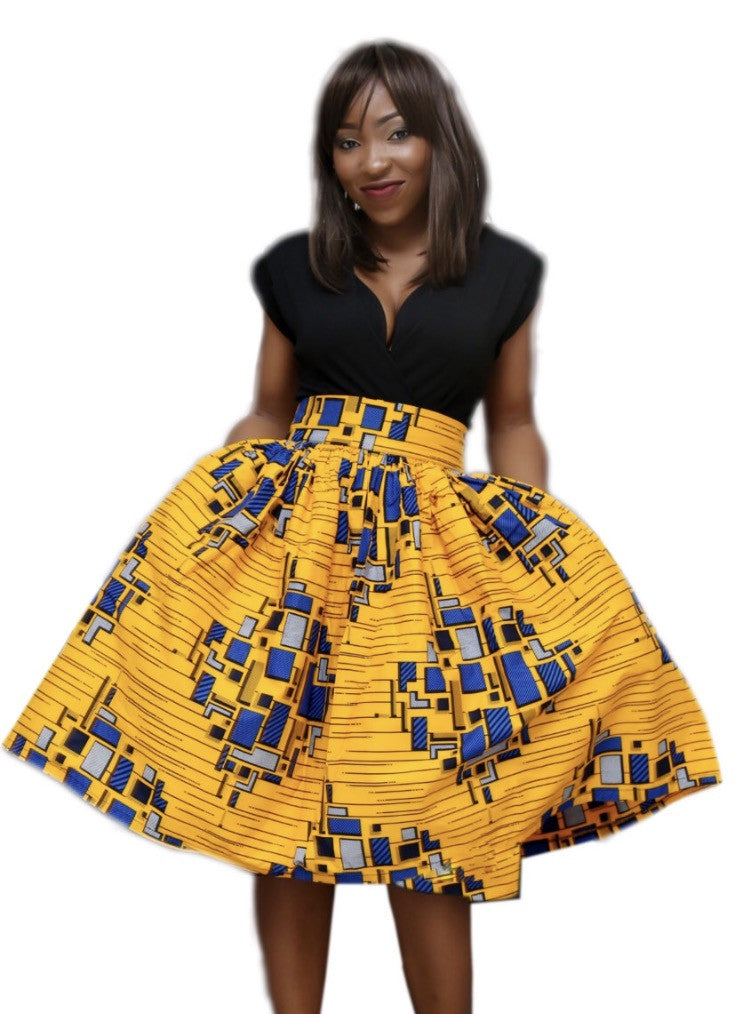 Yellow and Blue Ankara Midi Skirt
