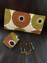 Yellow and Orange Circles Heels, Clutch, and Matching Jewelry Set