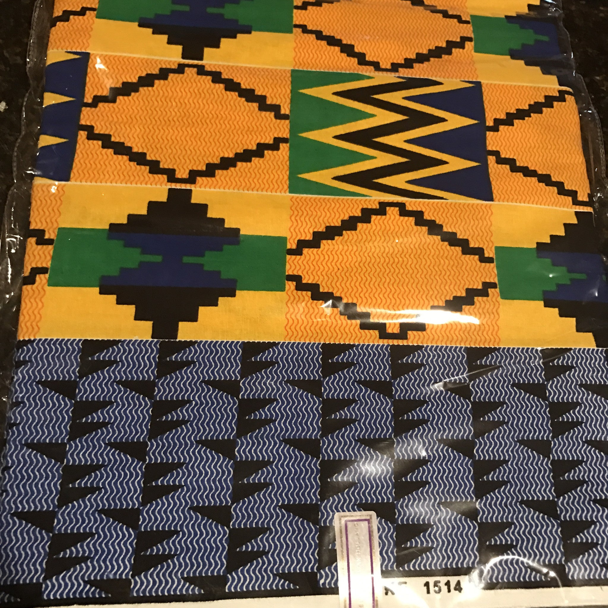 Ankara Fabric - Yellow and Green Kente