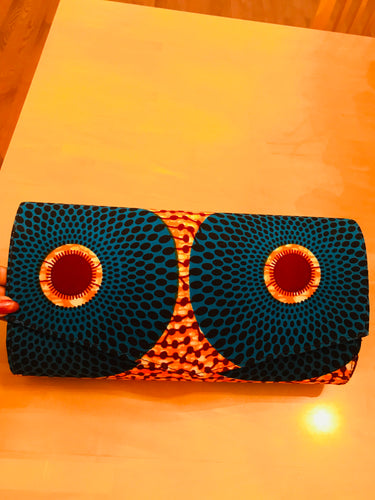 Orange and Blue Ankara Circles Jewelry, and Headscarf Set