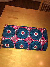 Red and Blue Ankara Circles Purse, Jewelry, and Headscarf Set