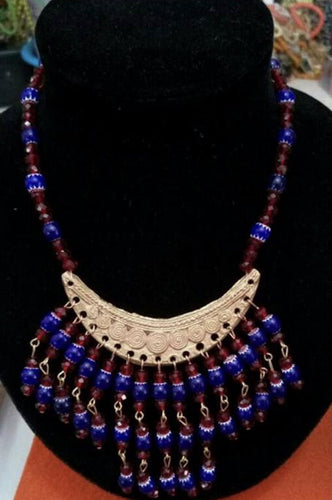 Blue and Red Beaded Ankara Bib Necklace