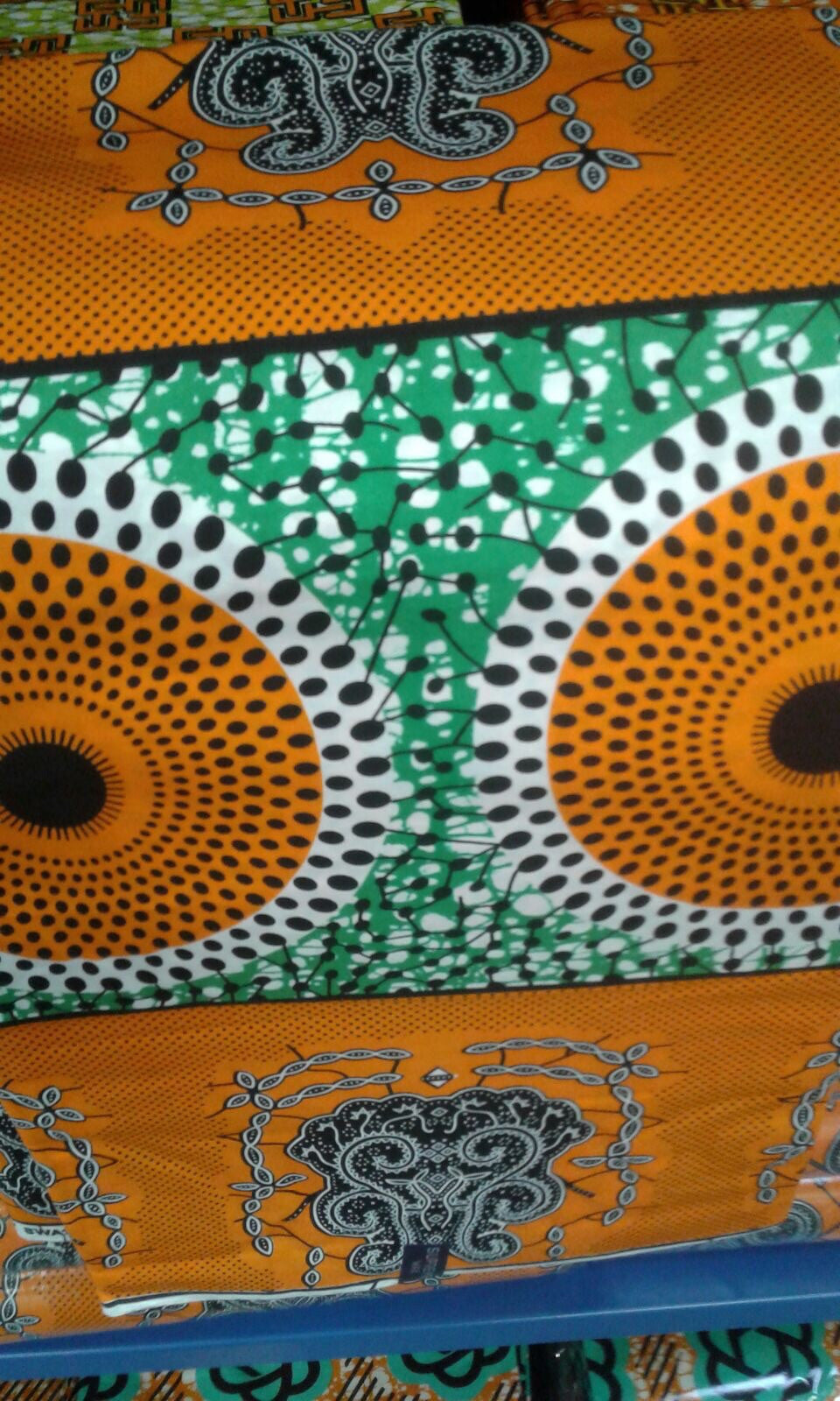 Green and Orange Waterfall Fabric