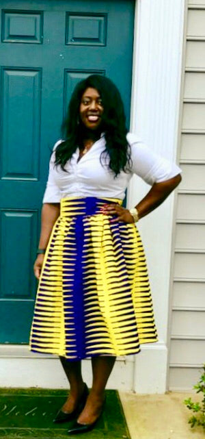 Purple and Yellow Nkrumah Midi Skirt