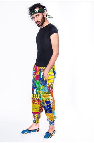 Mens Ankara Patchwork Jogger Pants