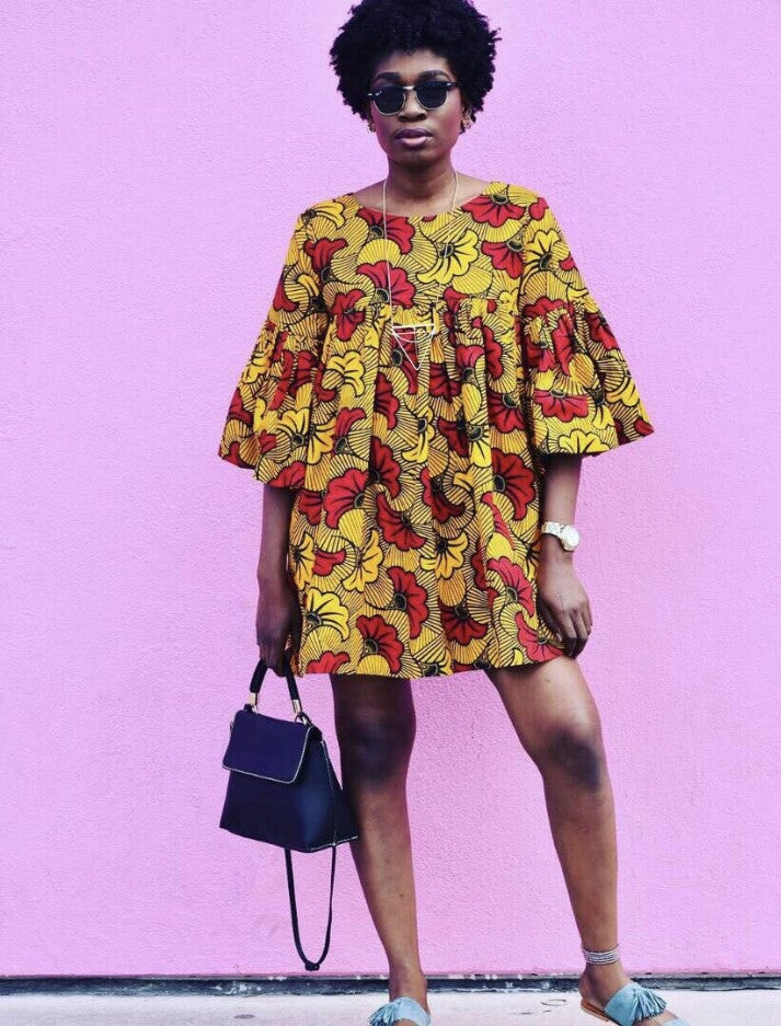 Yellow and Red Ankara Shift Dress