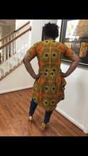 Orange and Brown Ankara Circles High Low Top
