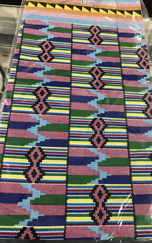 Ankara Fabric - Pink and Green Kente