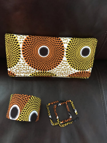 Yellow and Orange Ankara Circles Wallet Clutch with matching Bracelet and Earrings