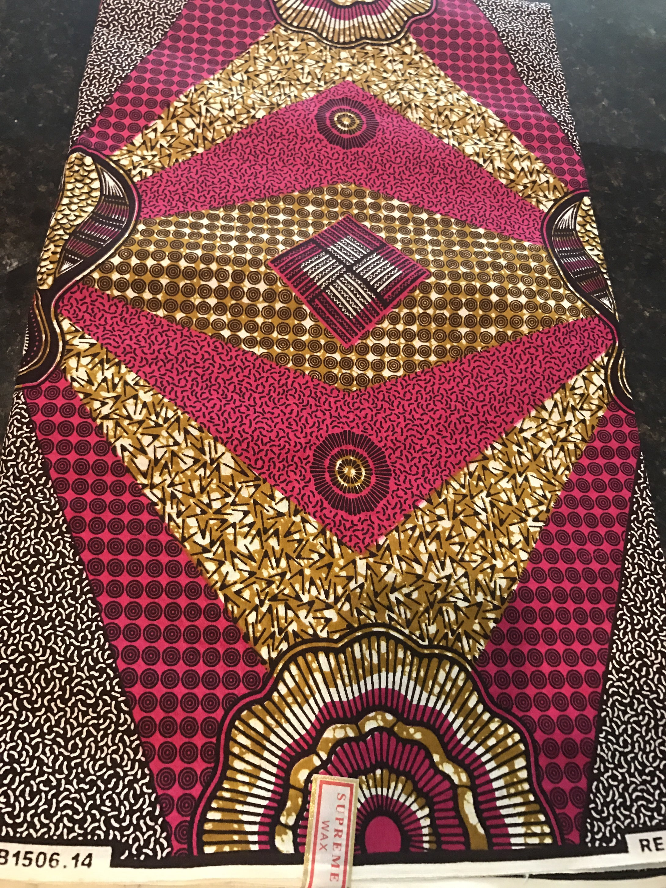 Pink and Brown Ankara Fabric