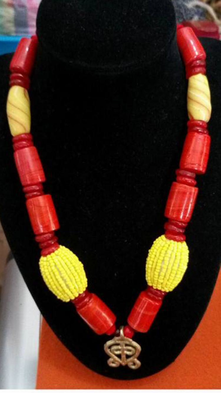 Red and Yellow Ankara Beaded Necklace