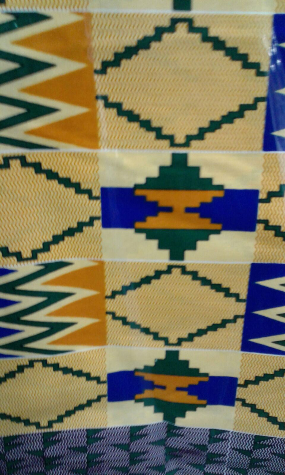 Ankara African Fabric - Tan and Blue Kente