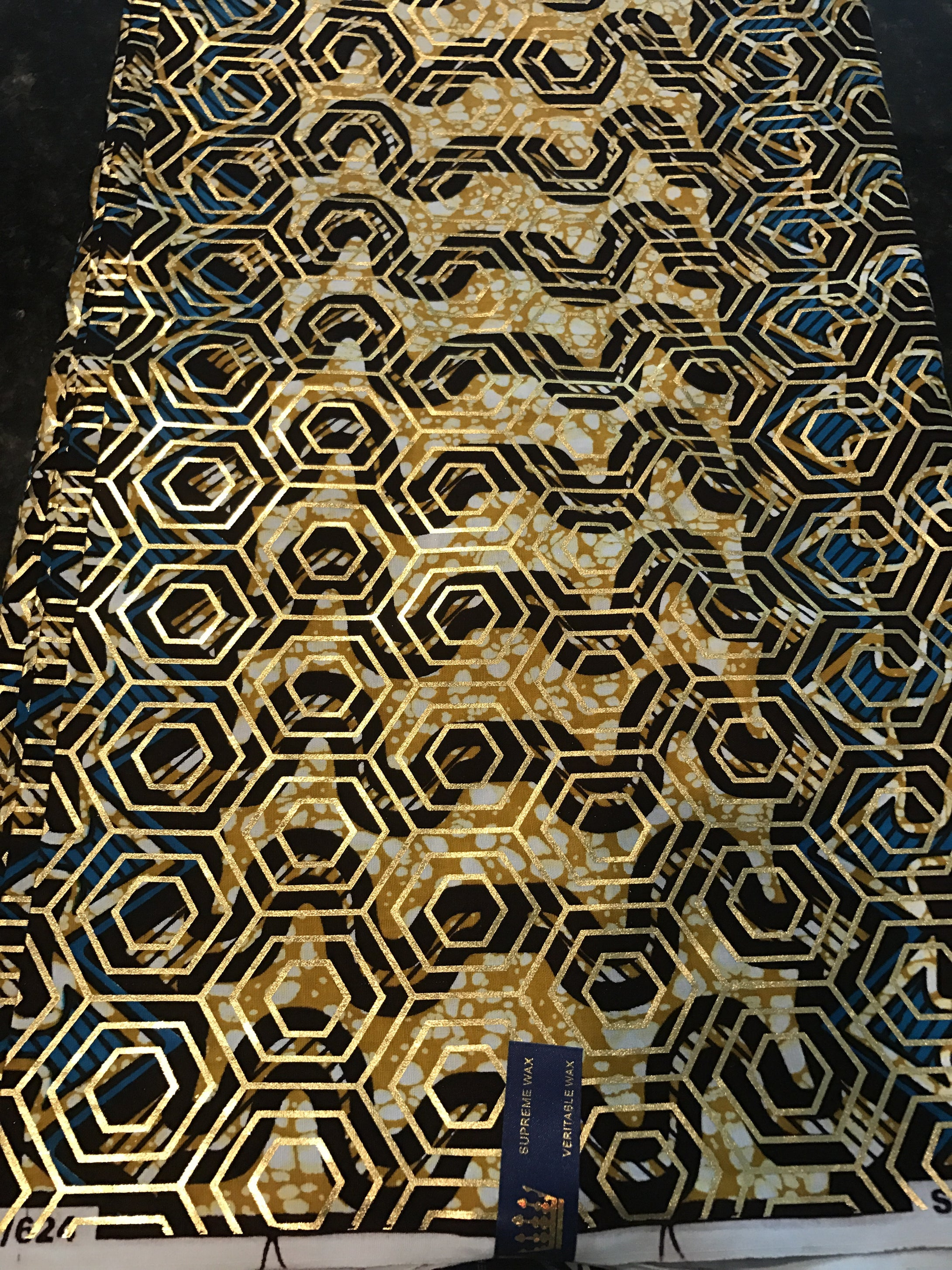 Gold and Blue Osikani Royalty fabric